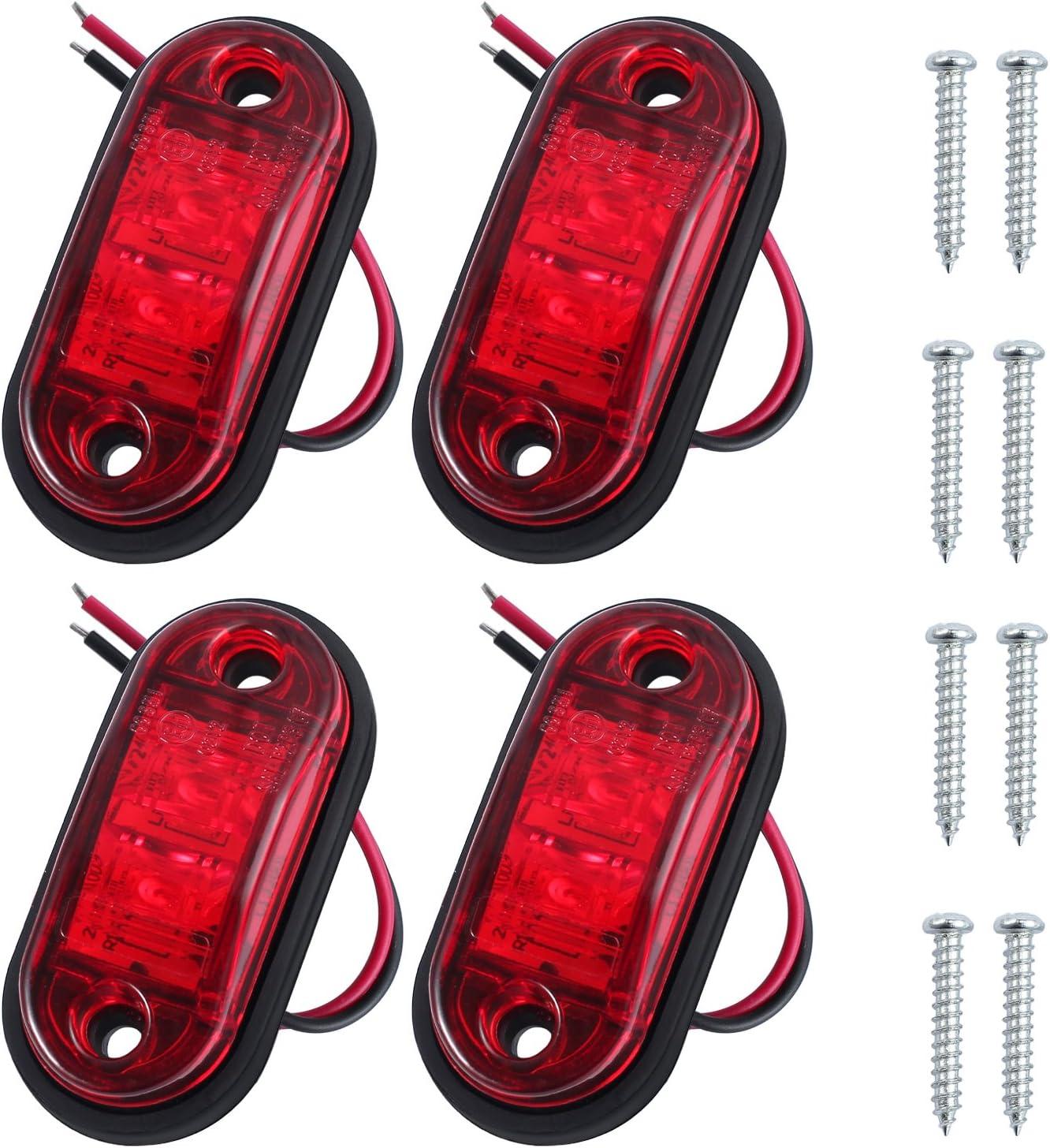 Luz de Posición Luz de Marcador Lateral 4 Piezas de LED Luz Lateral de Camión Lámpara Indicadora Lateral 12V 24V Impermeable Rojo para Camión Remolque Caravana