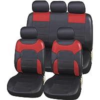 Upgrade4cars Fundas Asiento Coche Poli-Piel Rojo Negro |
