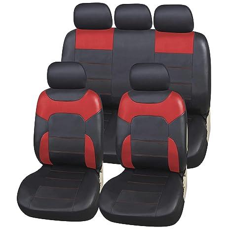 5259c20f6e6 Amazon.es  upgrade4cars Fundas Asiento Coche Poli-Piel Rojo Negro ...