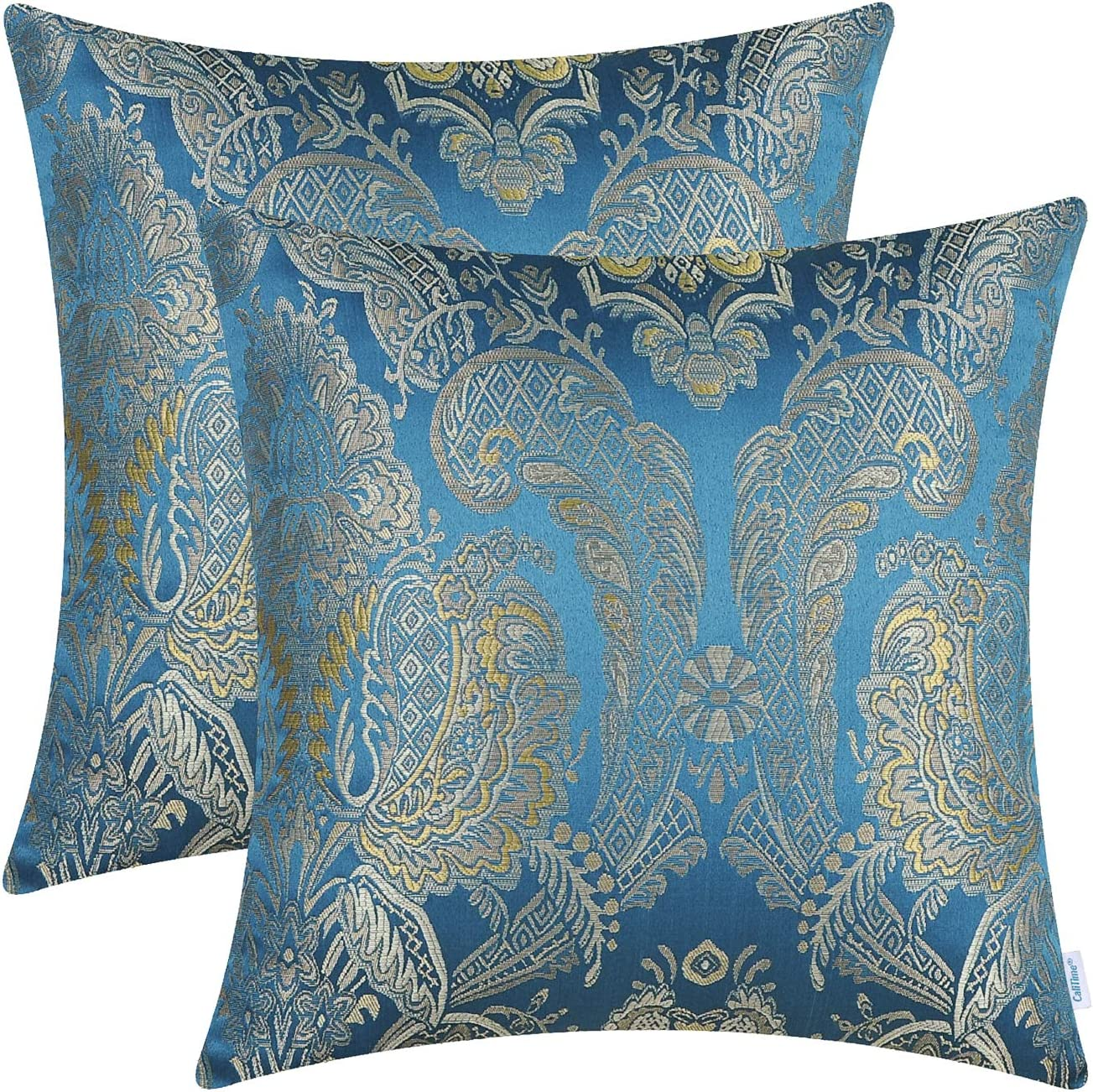 CaliTime Pack of 2 Supersoft Throw Pillow Covers Cases for Couch Sofa Home Decor Vintage Damask Floral 18 X 18 Inches Seaport Blue