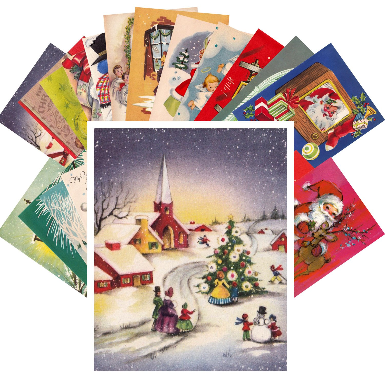 Vintage Christmas Carte Postale 24pcs Christmas Visits and Warm Wishes REPRINT Postcard Pack Noel Pixiluv
