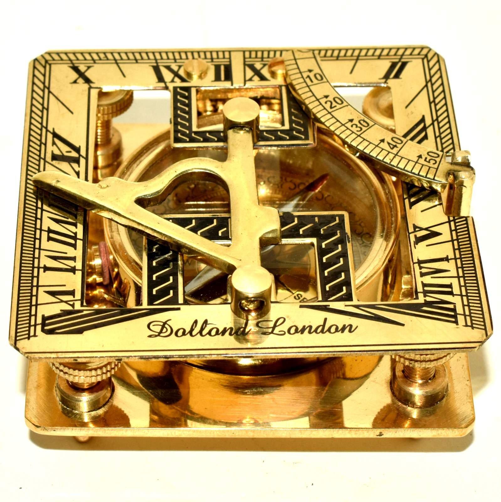 Nautical Brass Sundial Compass Marine Working Compass Pocket 2 Pieces