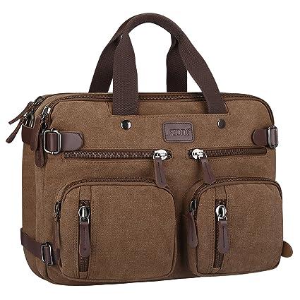 188f8908ff47 S-ZONE 15.6 inch Laptop Men Vintage Canvas Backpack Multifunction Retro  Style Laptop Handbag for Men Canvas Shoulder Messenger Bag (Coffee)