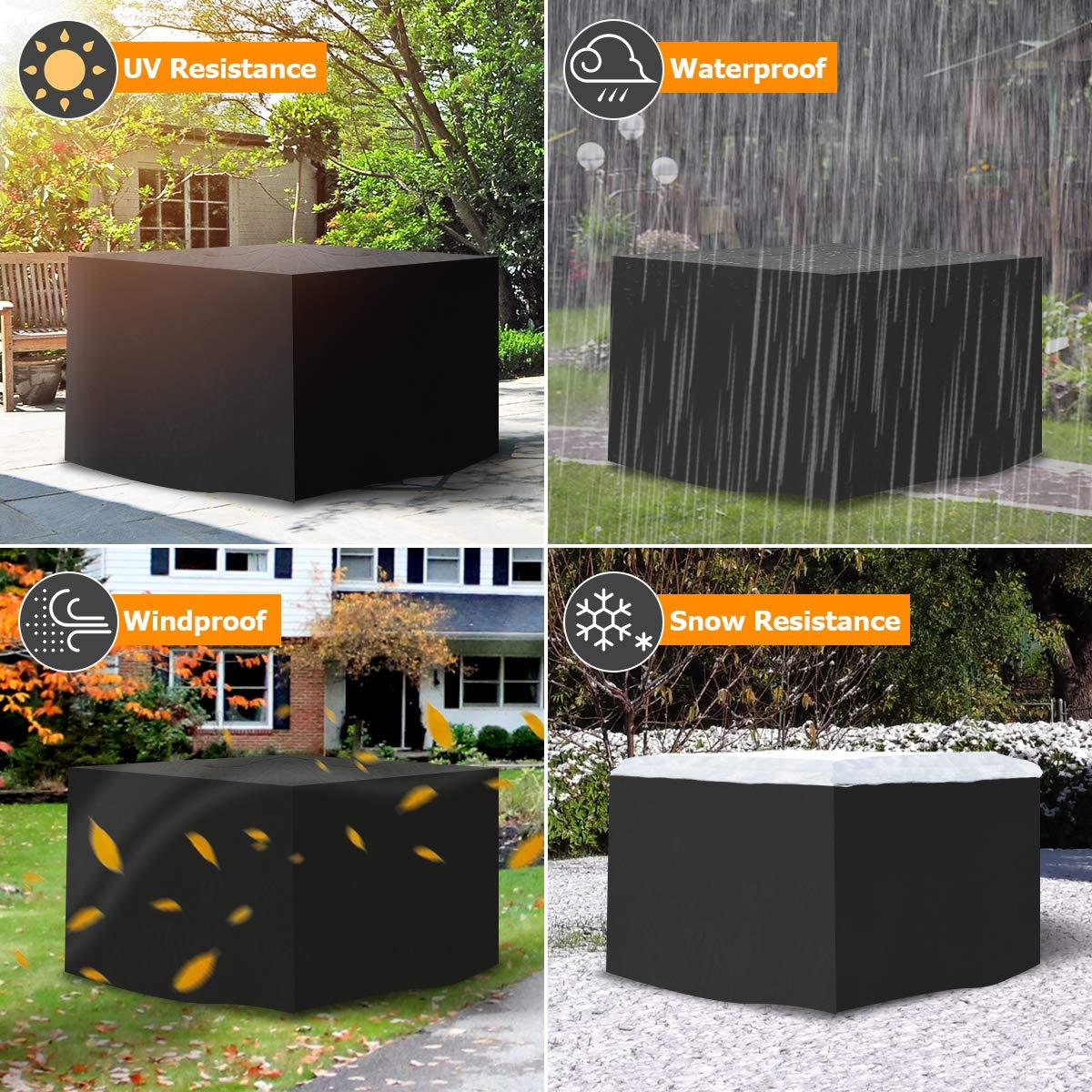 Tvird Funda para Muebles de Jard/ín,Copertura Impermeable para Mesas Rectangular,Cubierta de Exterior Funda Protectora Muebles Mesas Sillas Sof/ás Exterior 420D Oxford 125x125x74cm Negro.