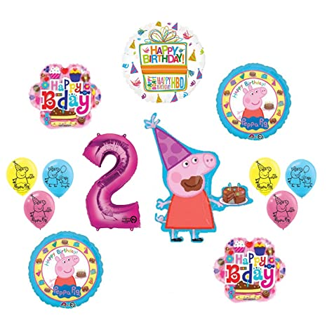 Image Unavailable Not Available For Color Mayflower Products Peppa Pig 2nd Birthday Party Balloon Supplies And Decorations Kit