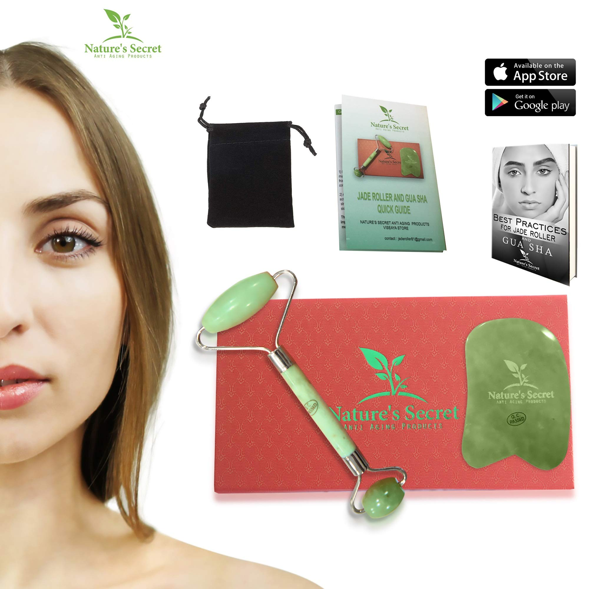 Anti Aging Jade Roller Therapy and Gua Sha Scraping Tool Set, 100% Natural Jade Facial Roller, Double Neck Healing Slimming Massager for Relaxing, Rejuvenates Skin and Treats Wrinkles, Ideal Gift Idea