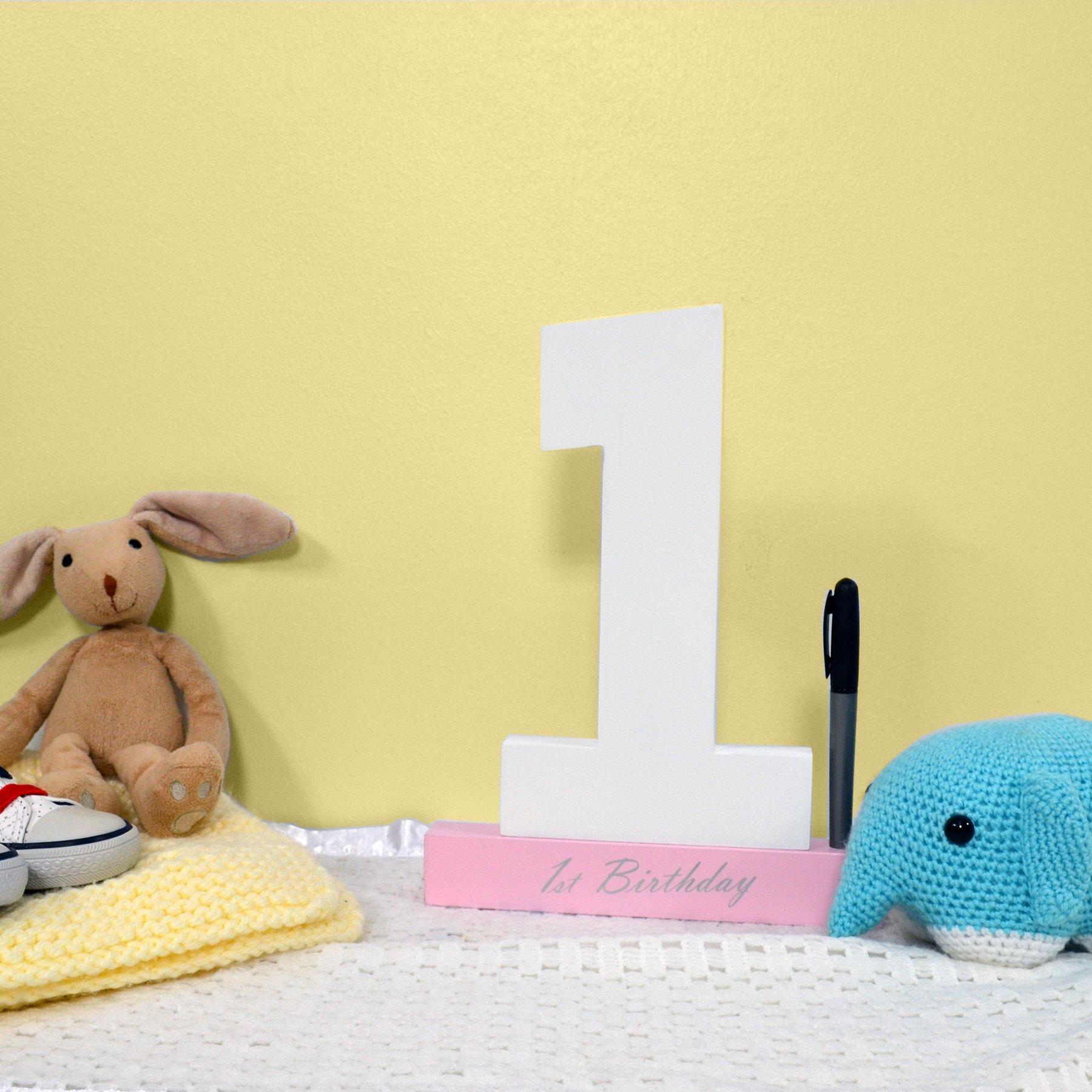 First Birthday Keepsake Signature Numbers - Pink