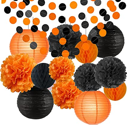 Halloween Party Decoration Kit Round Lanterns Celebration House Garden Supplies Ceiling Wall Hanging Decor Black Orange Purple Hanging Tissue Paper Pompoms Paper Lanterns Yellow Led Lights