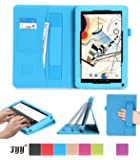 """Polatab 10.1 Case, Fyy® Premium PU Leather Case Stand Cover with Card Slots, Pocket, Elastic Hand Strap and Stylus Holder for 10.1"""" Android Tablet inclu. 2014 NEW iRulu 10"""" A31S/ iRulu 10.1"""" A20, iRulu X1s 10.1"""", Dragon Touch A1X Plus/ A1X/ A1 10.1"""", NeuTab N10 10.1"""", Contixo Q102 10.1"""", Poofek 10.1 inch Google Android Tablet 32GB / A31S, Tagital T10 10.1"""", ProntoTec Nepro 10S 10 inch, Polatab Elite Q10.1 Cyan"""