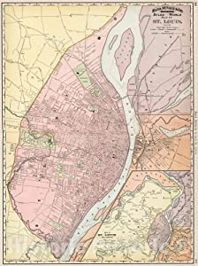 Historic Pictoric Map : St. Louis, Missouri, 1894, Vintage Wall Decor : 18in x 24in
