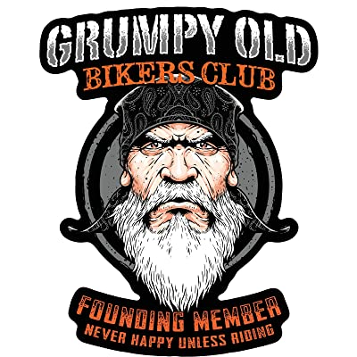 Skull Society Grumpy Old Bikers Club Founding Member Never Happy Unless Riding 7 inch Decal for Cars, Trucks, Motorcycles, Boats & Laptops: Automotive