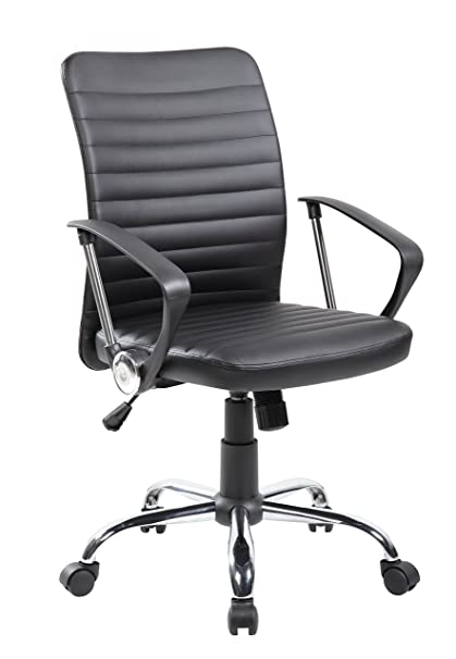 Admirable Anji Modern Furniture Mid Back Ribbed Upholstered Pu Leather Executive Swivel Office Task Conference Chair With Chrome Base Black Machost Co Dining Chair Design Ideas Machostcouk