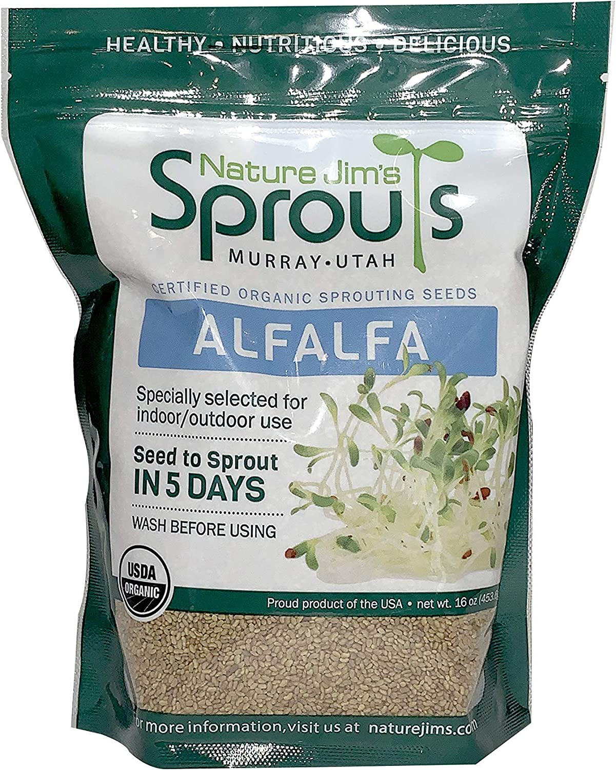 Nature Jims Alfalfa Sprout Seeds – 16 Oz Organic Sprouting Seeds – Non-GMO Premium Alfalfa Seeds – Resealable Bag for Longer Freshness – Rich in Vitamins, Minerals, Fiber