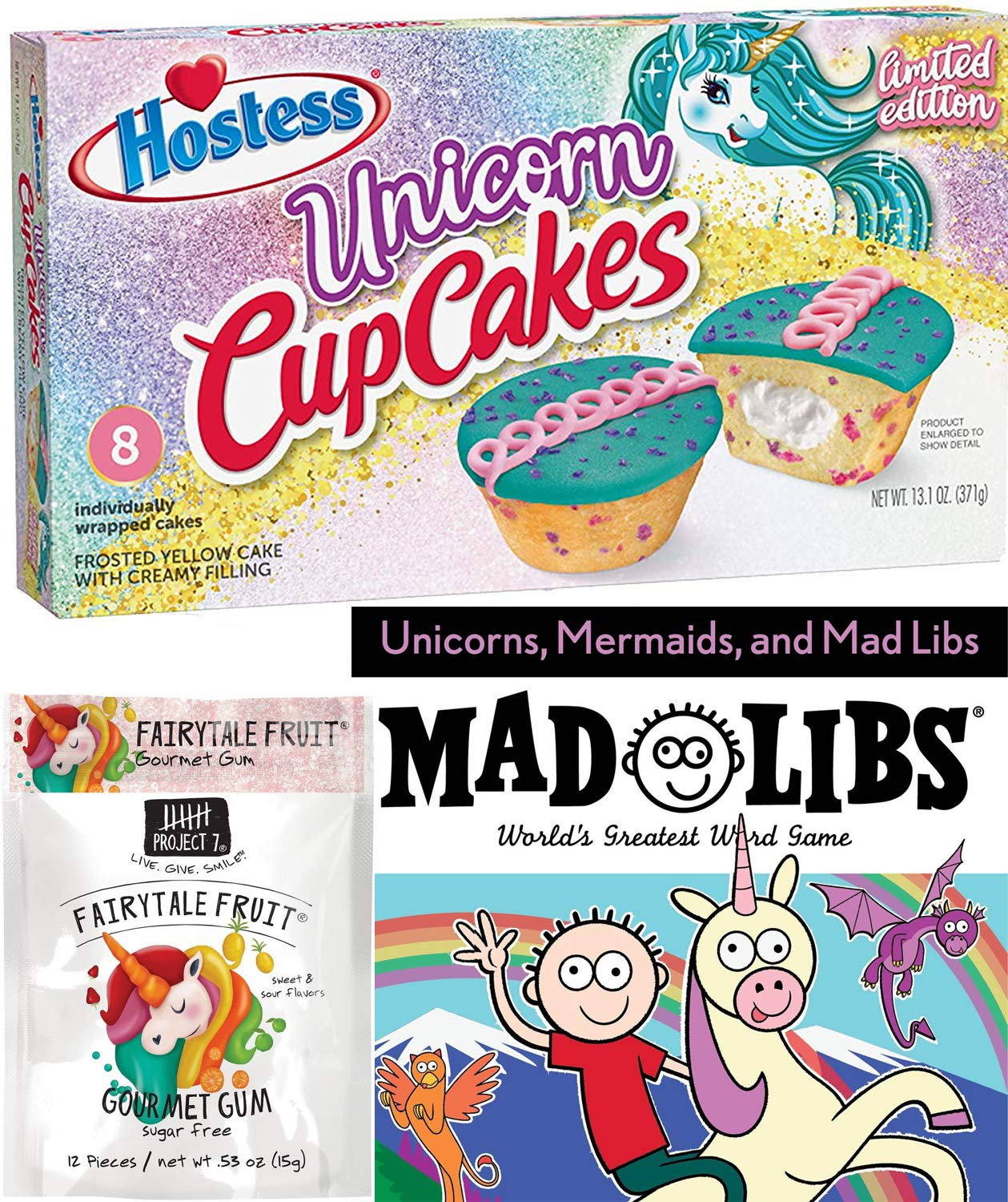 Frosted Unicorn Cupcake Exclusive Edition Bundled with Magical Fantasy Unicorn Mad Word Game Libs Book Fun & Fairytale Fruit Sweet Treat 3 pack by Hostess