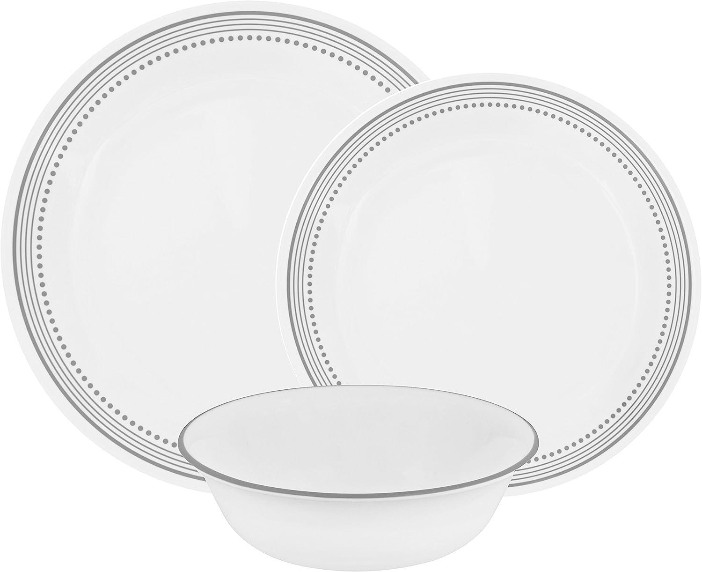 Corelle Mystic Gray Chip & Break Resistant 12pc Dinner Set, Service for 4, Grey, 27.94 x 12.38 x 26.67 cm