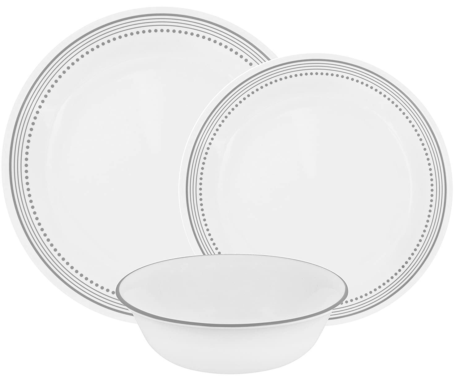 Corelle Mystic Gray Chip and Break Resistant Dinner Set for 4 Person, Grey, 12-Piece World Kitchen 1127003