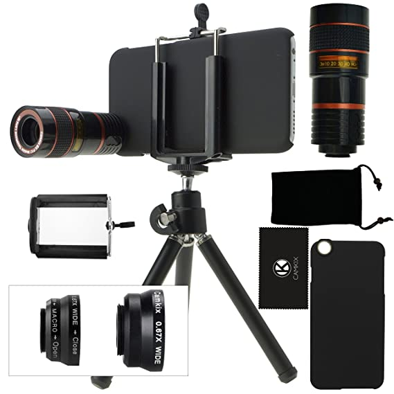 wholesale dealer 69c51 dbe67 CamKix Camera Lens Kit Compatible with iPhone 6 / 6S - incl. 8X Telephoto  Lens/Fisheye Lens/Combined Macro Lens and Wide Angle Lens/Tripod/Phone ...