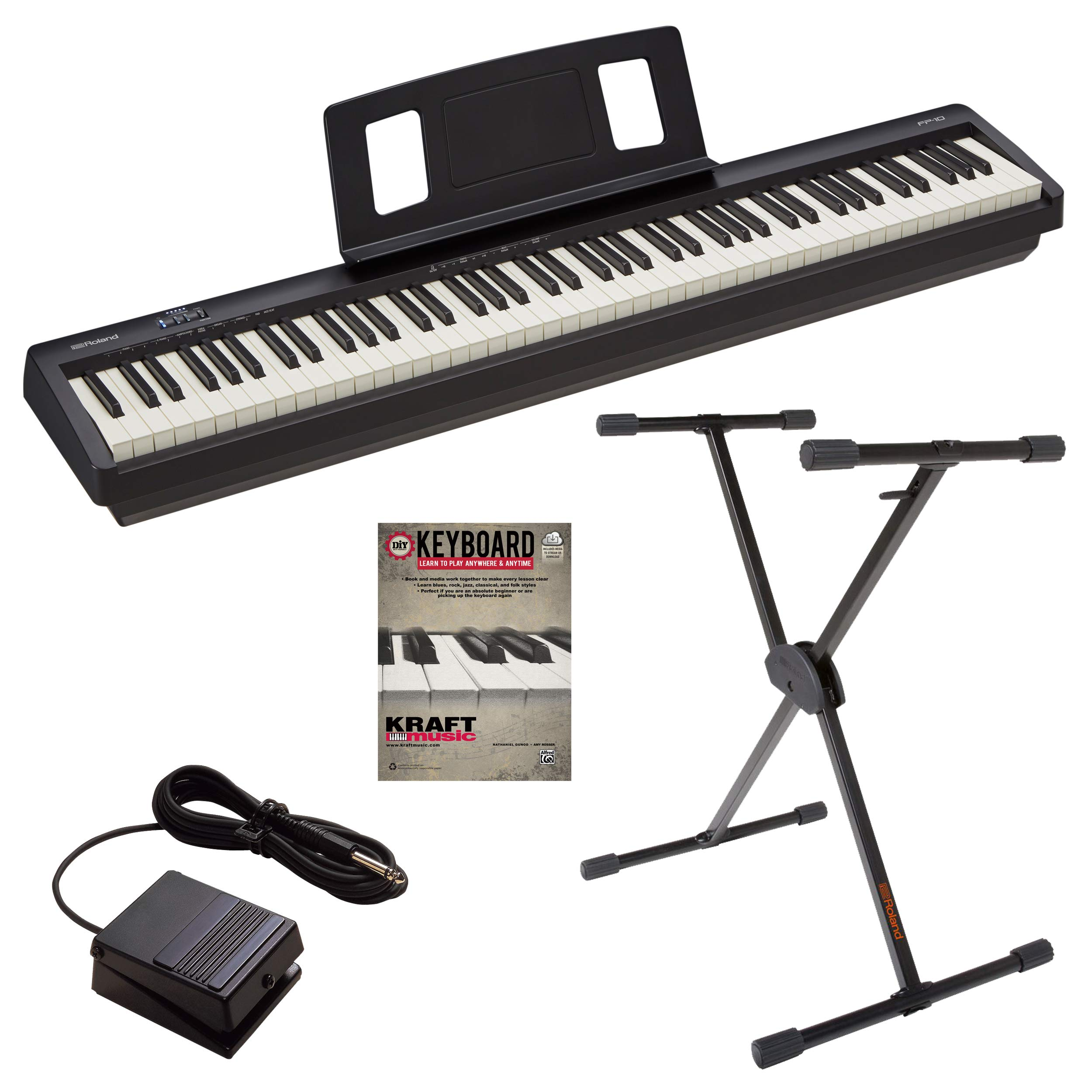 Roland FP-10 Digital Piano with Roland KS10X Keyboard Stand and Lesson Book by Roland