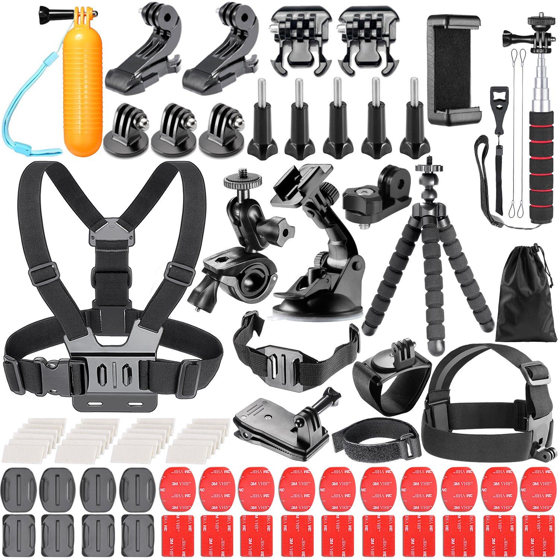 Neewer 50-In-1 Action Camera Accessory Kit for GoPro 7 GoPro Hero 6 5 4 3+ 3 2 1 Hero Session 5 Black AKASO EK7000 Apeman SJ4000 5000 6000 DBPOWER AKASO VicTsing WiMiUS Rollei QUMOX Lightdow Campark und Sony Sports Dv and More 10085441