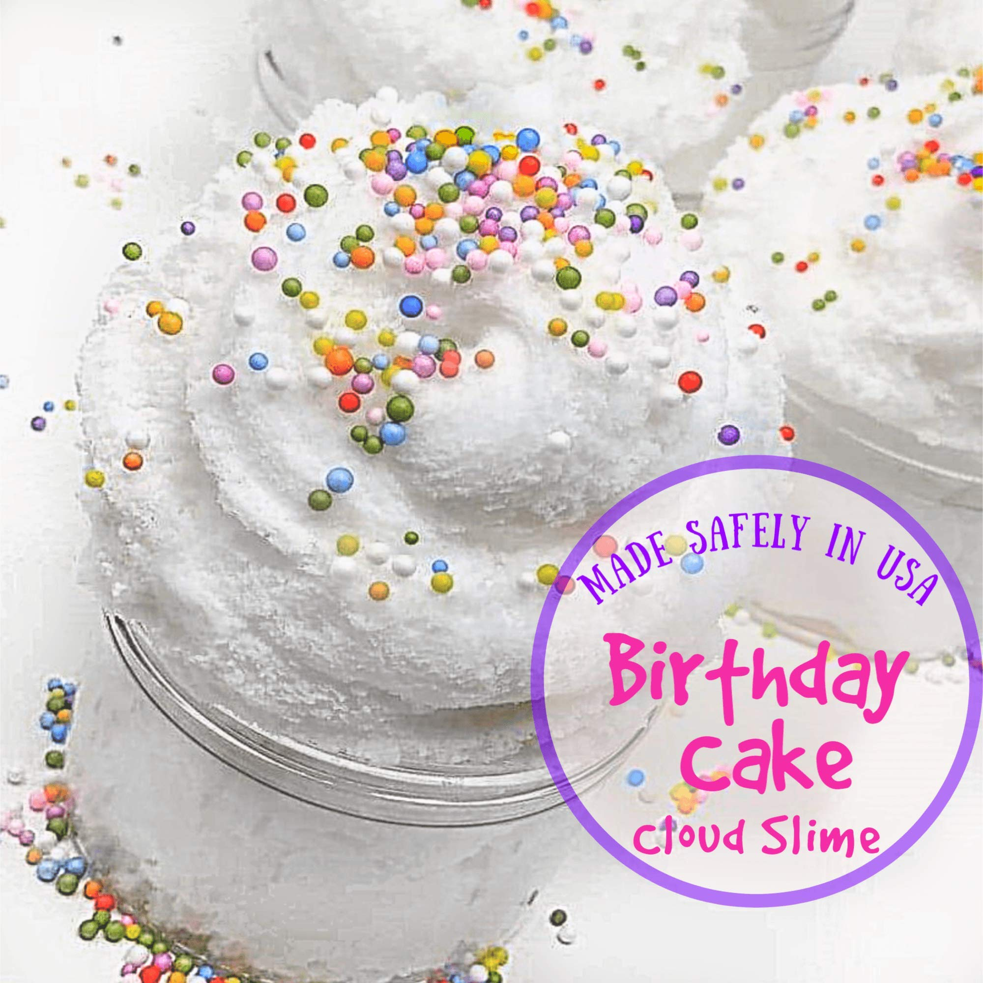 Fluffy Cloud Slime - Birthday Cake Scented - Non - Sticky Made in The USA 8 oz by  Unitoots Slime Company (Image #1)