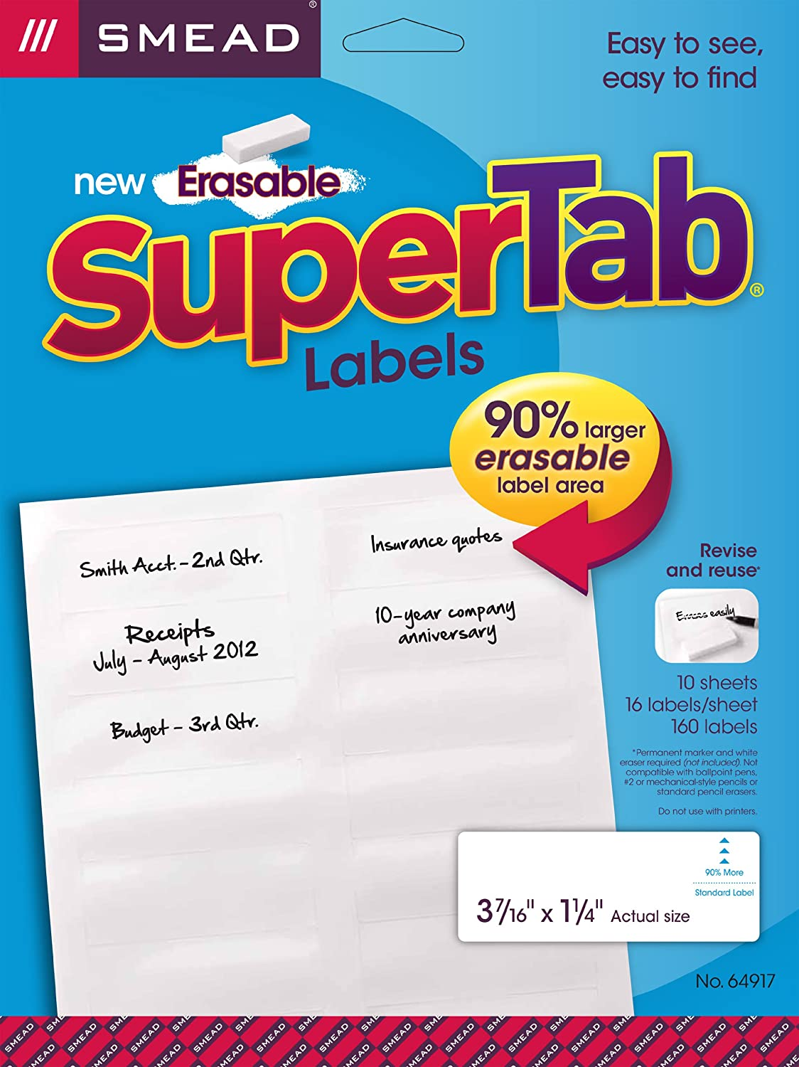 Smead Erasable SuperTab File Folder Labels, White, 160 Labels per Pack (64917)