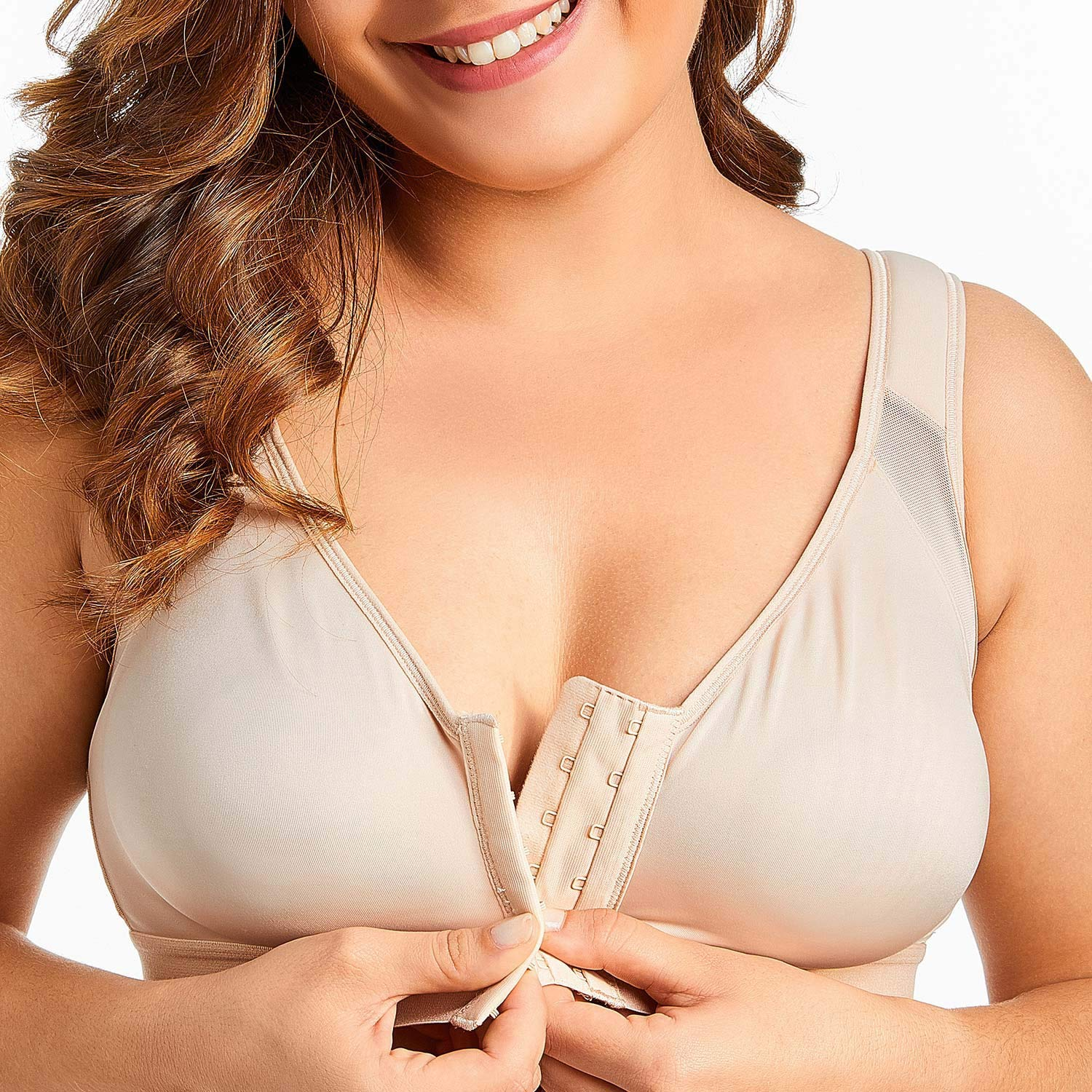 Womens Front Closure Full Coverage Wire Free Support Bra,White02,dd,42