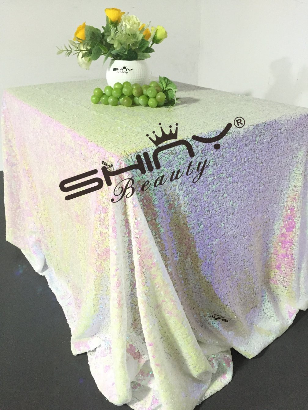 ShinyBeauty Iridescent White Square Sequin Tablecloth 48x48-Inch, Birthday Party Cake Table Overlay Dessert Table Cover Linen