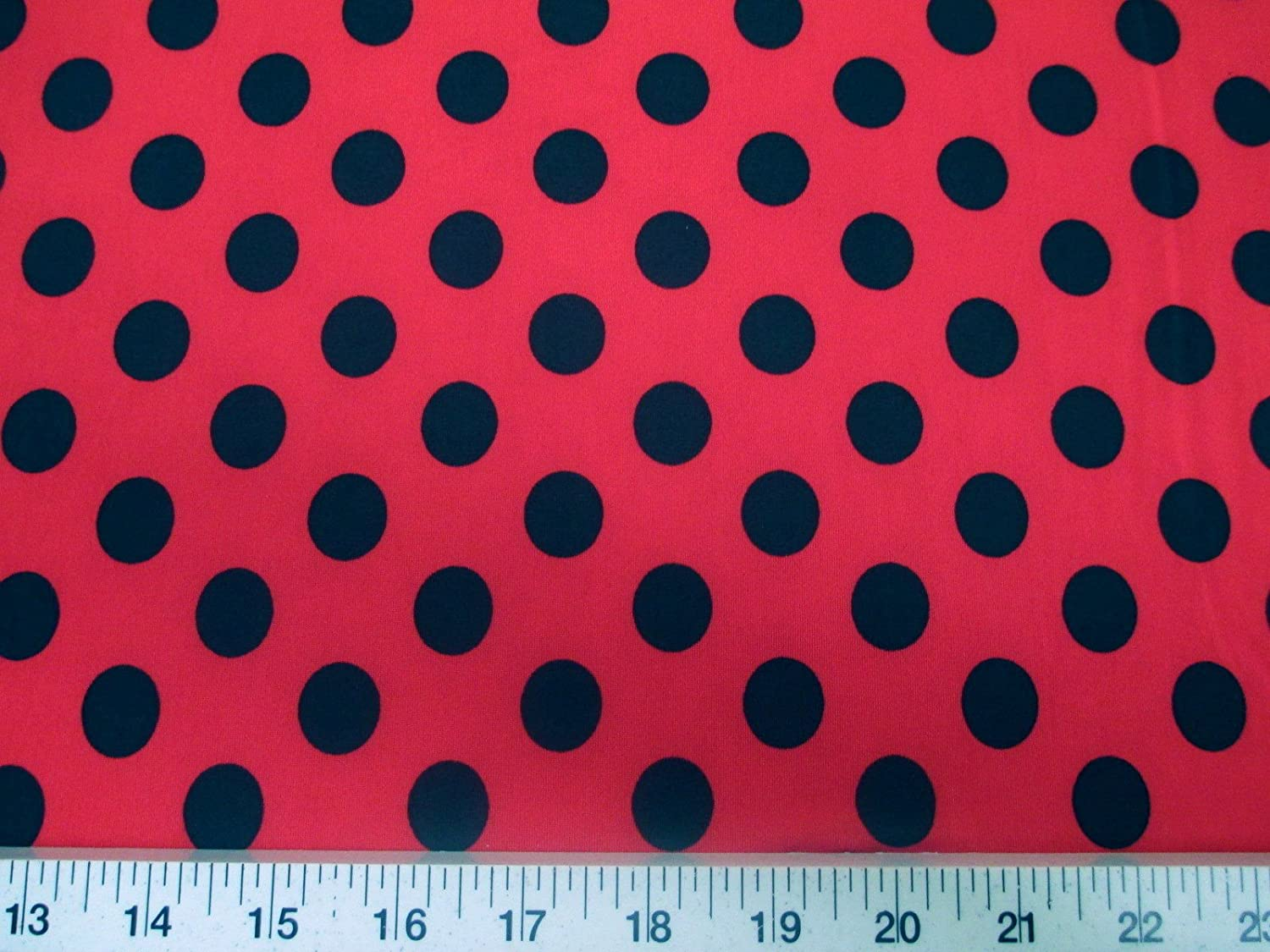 5033451d284 Amazon.com: Discount Fabric Printed Jersey Knit ITY Stretch Red with Black  Polka Dots G20