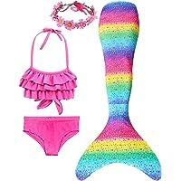 Girls 4 Pcs Swimsuits Mermaid Tails for Swimming Costume Princess Bikini Bathing Suit Set for Toddler