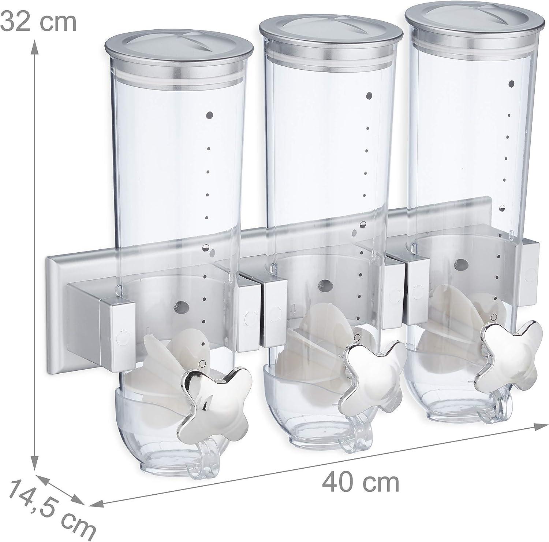 Poliestireno Triple Relaxdays Dispensador de Cereales y Caramelos de Pared Plateado 32 x 40 x 14,5 cm