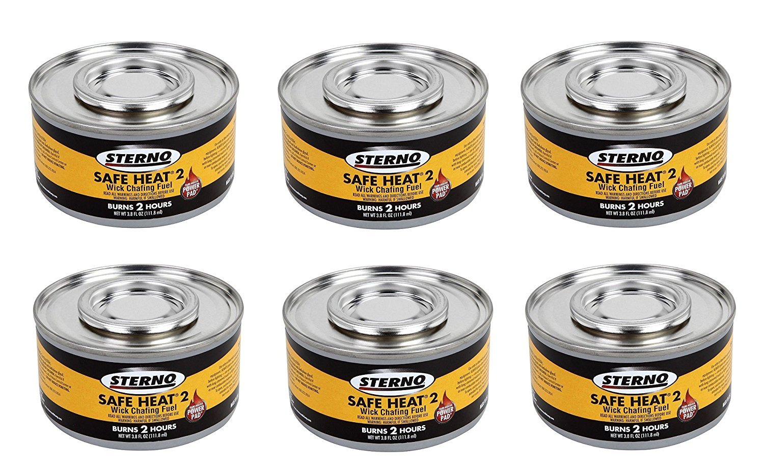 Sterno 2 Hour Safe Heat Chafing Dish Fuel With PowerPad Feature, 6 Cans,3.80 fl OZ. by Sterno
