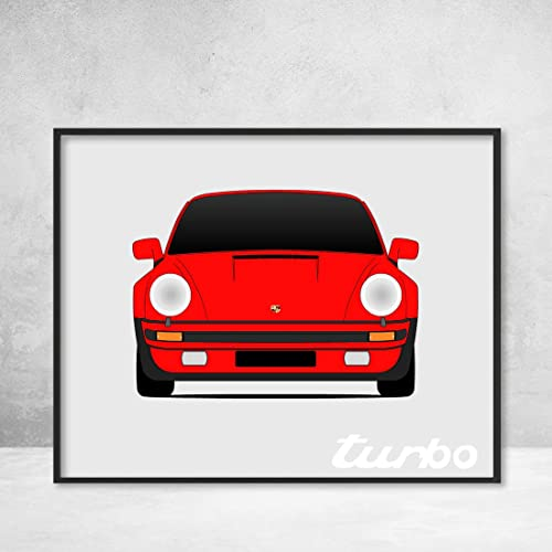 Porsche 930 (Porsche 911 Turbo) Poster Print Wall Art Decor Handmade