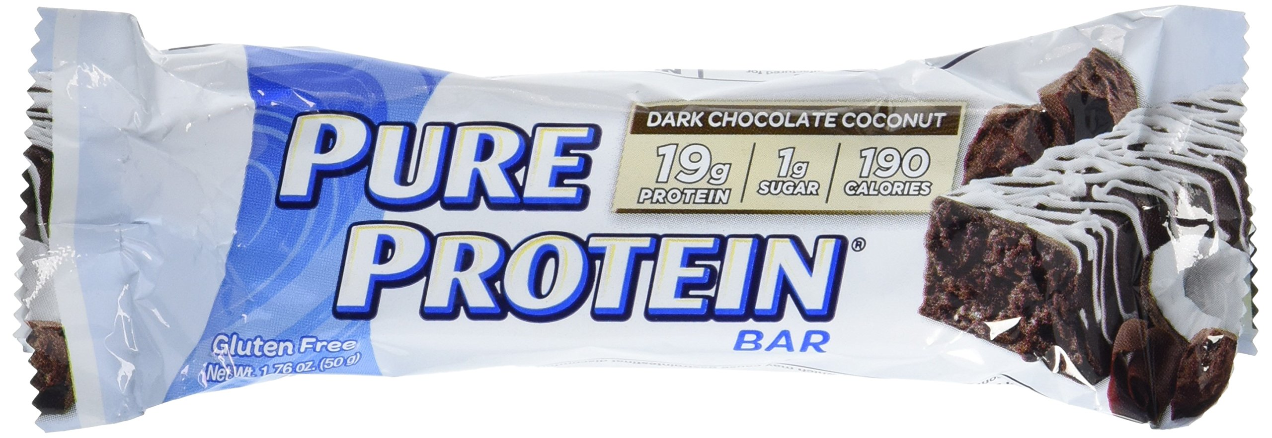 Pure Protein High Protein Bar Dark Chocolate Coconut 1.76-Ounce Bar (Pack of 12), Protein Bars, 19 Grams of Protein, Gluten Free