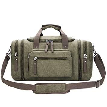 515db35e17d Amazon.com   Toupons 20.8   Large Canvas Travel Tote Luggage Men s  Weekender Duffle Bag (Army Green)   Gym Totes