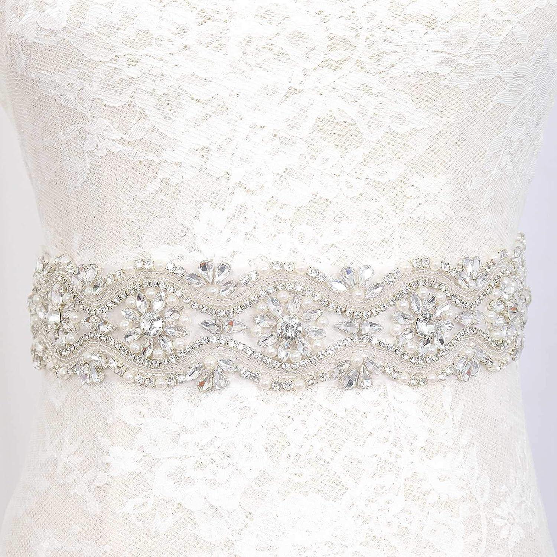 Crystal Belt Beaded Sash Applique pearls Embellishment Bridal Sash Wedding Dress Sash