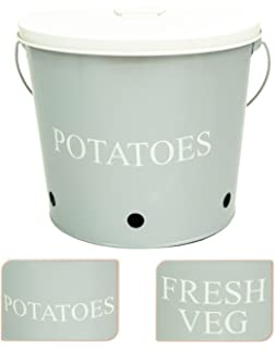 Great East2eden Retro Vintage Cool Grey Double Sided Enamel Potato Fresh  Vegetable Kitchen Storage Bucket