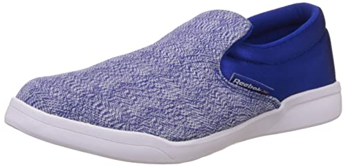 67016b3f500885 Reebok Classics Men s Court Slip On Blue and White Loafers and Mocassins - 10  UK