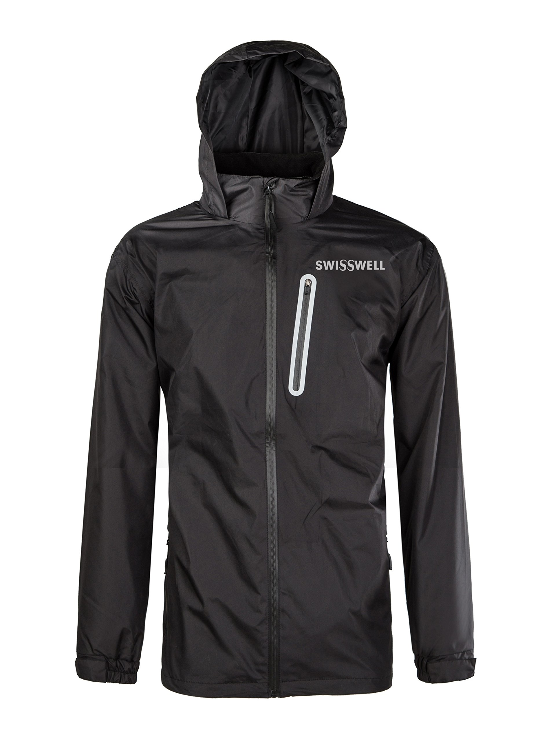 SWISSWELL Men's Waterproof Raincoat with Hood Black Large by SWISSWELL