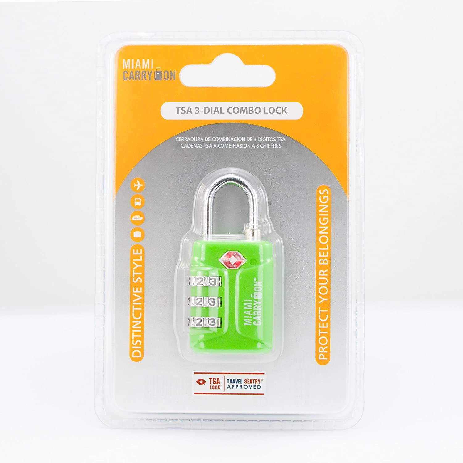 Amazon.com: TSA Combination Padlock - Miami Carry On - Set Your Own Combination TSA Accepted Luggage Lock, 1-3/16 inch Wide - Electric Green (1 Pack): ...