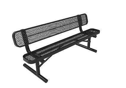 Astounding Coated Outdoor Furniture B6Wbp Blk Park Bench Back 6 Feet Black Creativecarmelina Interior Chair Design Creativecarmelinacom