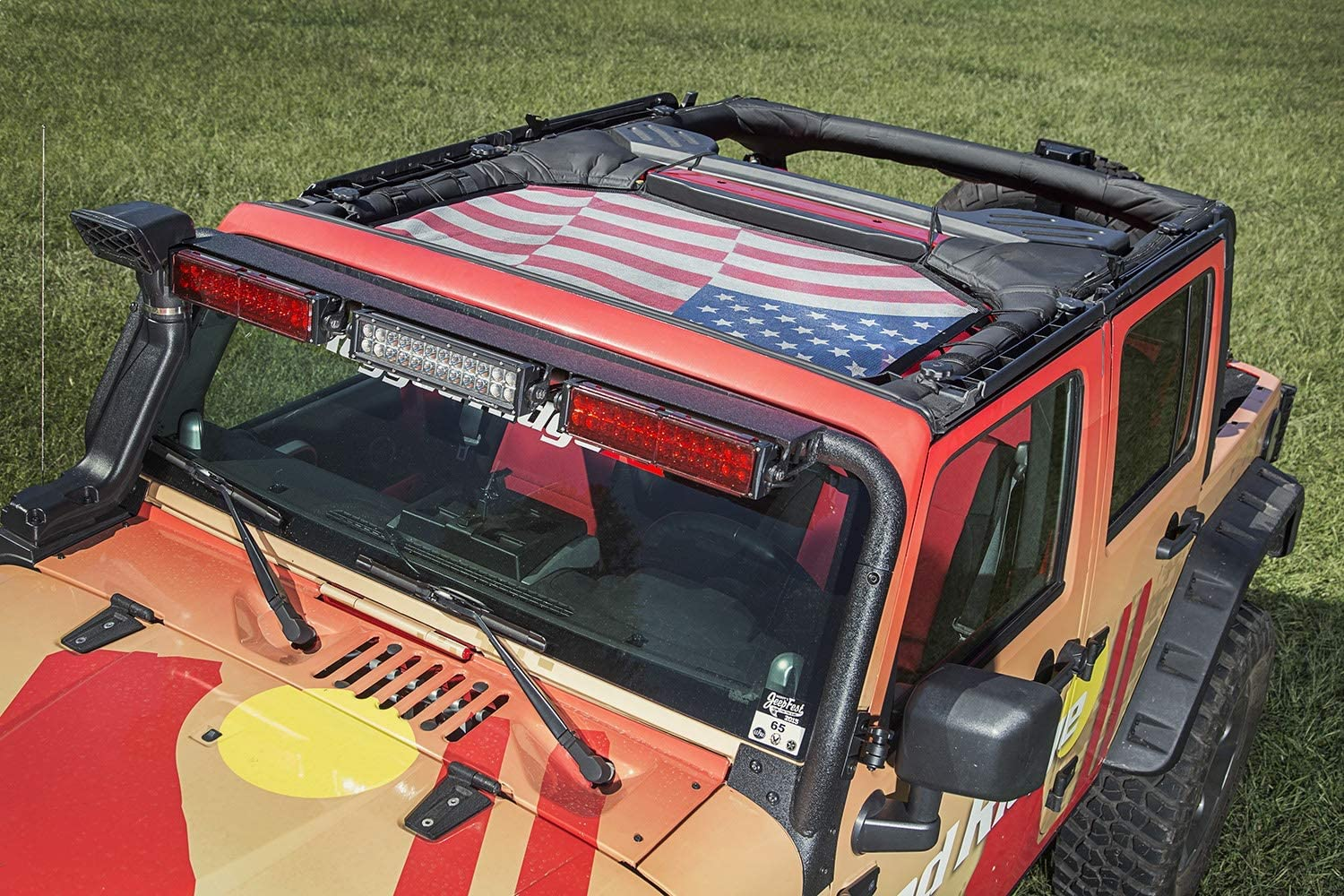 Rugged Ridge 13579.14 Eclipse Sun Shade Front American Flag