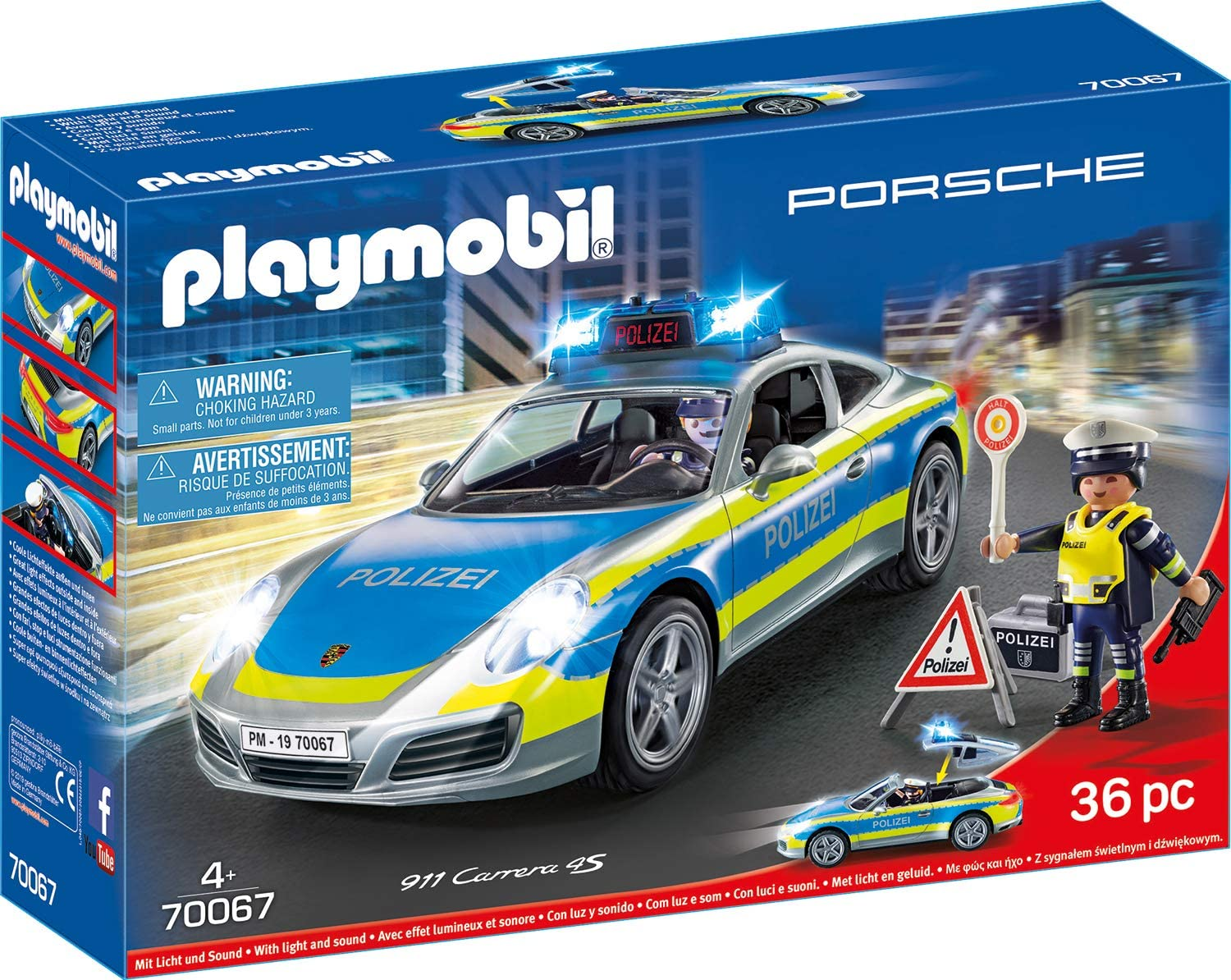 PLAYMOBIL- City Action Porsche 911 Carrera 4S - Figura de policía, Color carbón (70067)