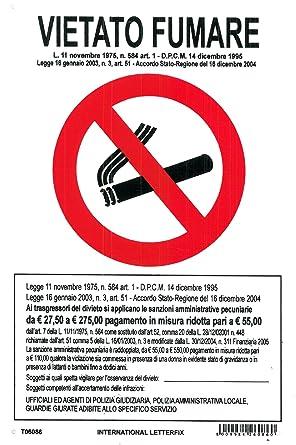 Cartel prohibido fumar PVC blanco cm. 31 x 20: Amazon.es ...