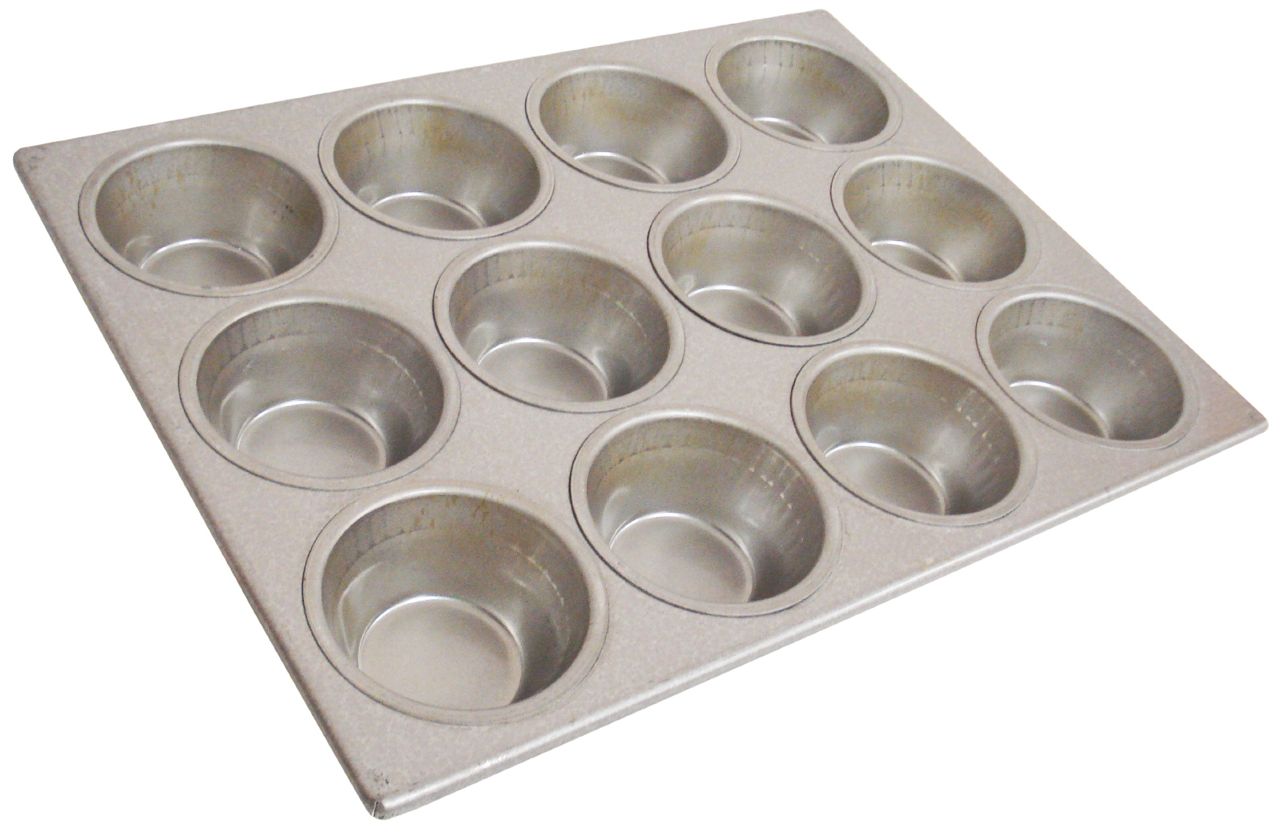 Magna Industries 15350 22-Gauge Aluminized Steel Pecan Roll Muffin Pan, 3-11/16'' Diameter, 3 x 4 Cups Layout (Pack of 6)