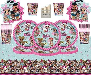 Kids Surprise Party Pack Vajilla de cumpleaños para niños 49 Piezas Suministros de Fiesta LOL Sirve 16- Platos LOL Copas Servilletas Cubierta de Mesa: Amazon.es: Juguetes y juegos