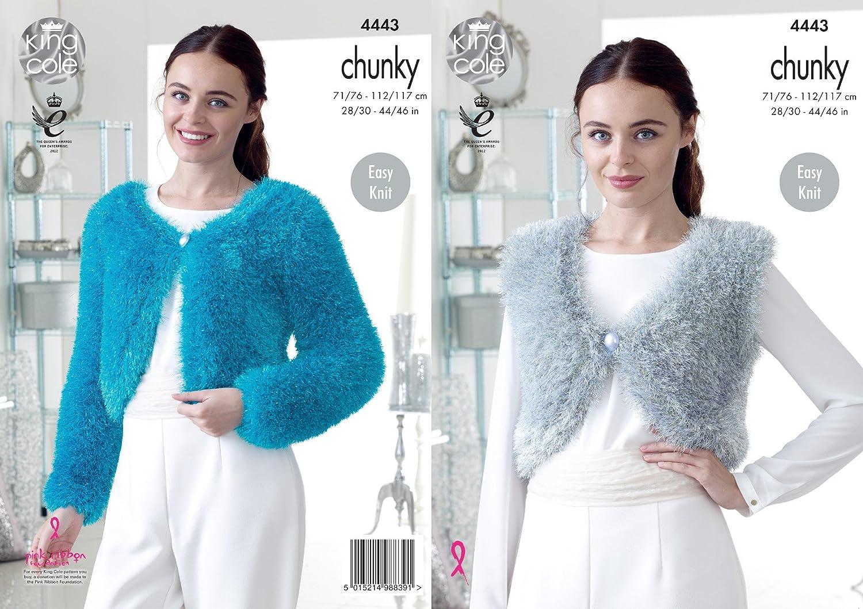 King Cole 4443 Knitting Pattern Ladies V and Round Neck Boleros to ...