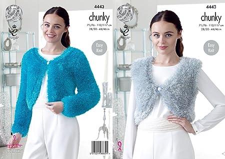King Cole 4443 Knitting Pattern Ladies V And Round Neck Boleros To