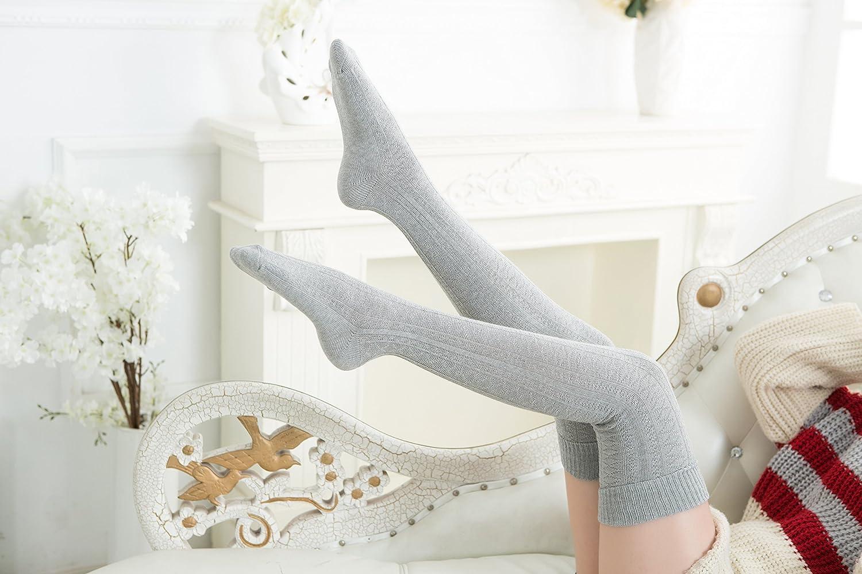 US Lovely Annie Womens@Big Girls 3 Pairs Fashion Thigh High Cotton Socks Over the Knee High Socks LA1025