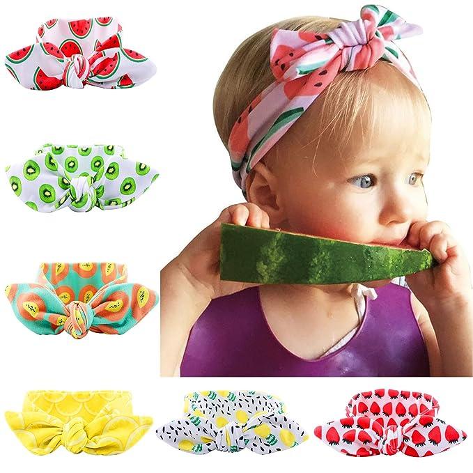 f5d31b88092f7 6pcs Baby Girl Turban Headband Kids Hair Bows Cross Knot Hairbands   Amazon.co.uk  Clothing