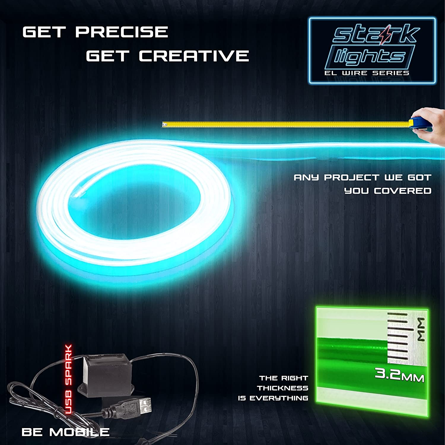 Amazon.com: 3-PACK 3m/9.8ft Teal Neon LED Light Glow EL Wire - 3.2 ...